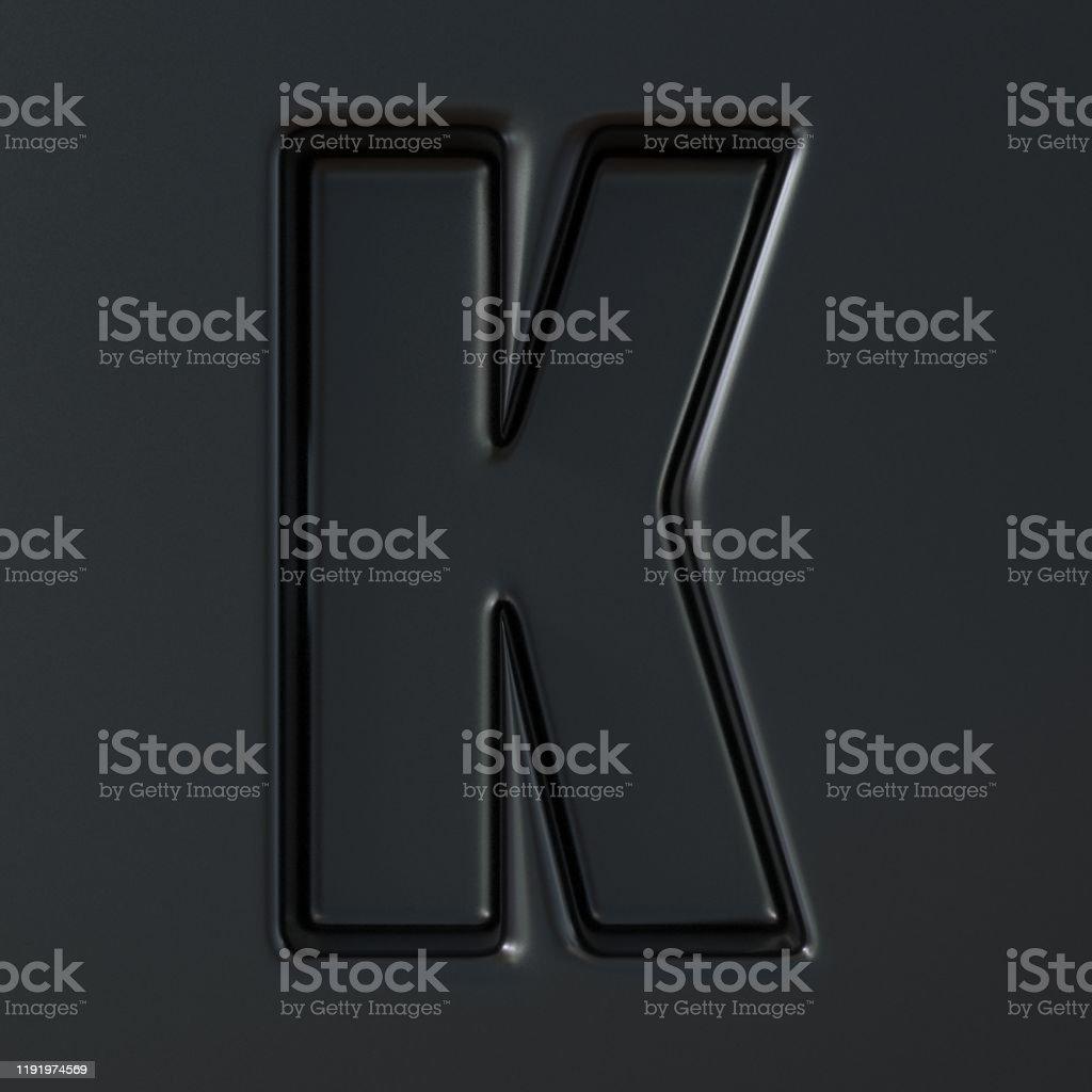 Black engraved font Letter K 3D - Стоковые фото Абстрактный роялти-фри