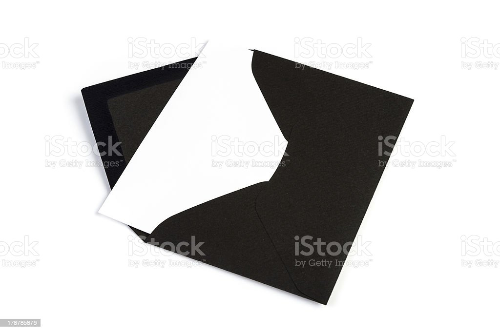 Black envelope (Clipping Path) stock photo