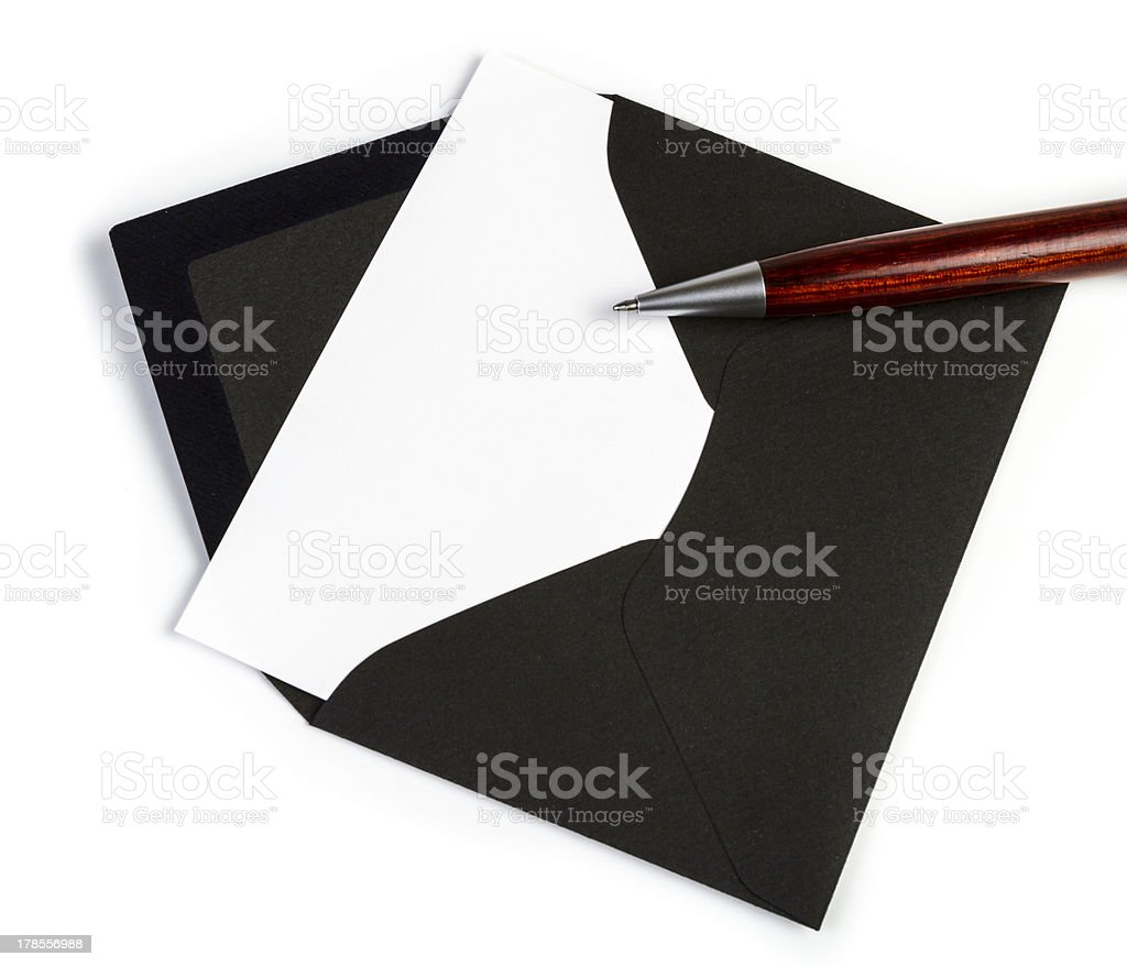 Black envelope with pen (Clipping Path) royalty-free stock photo