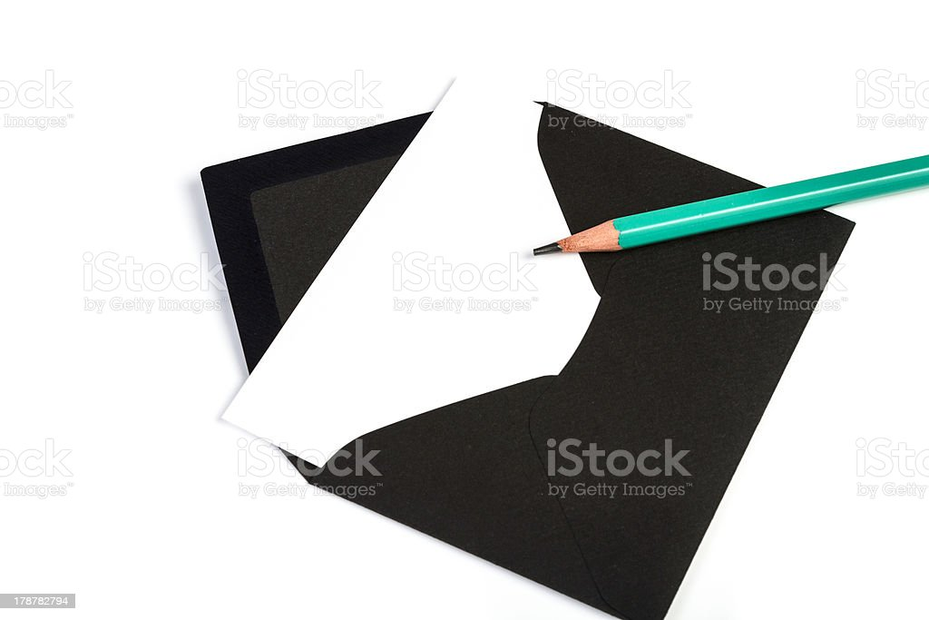 Black envelope with pencil (Clipping Path) royalty-free stock photo