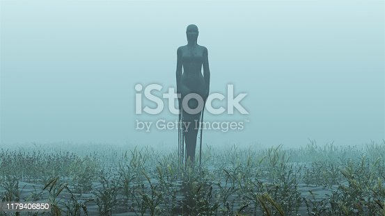 Black Evil Witch Dripping in Black Liquid Abstract Demon Foggy Watery Void with Reeds and Grass background Front View 3d Illustration 3d render