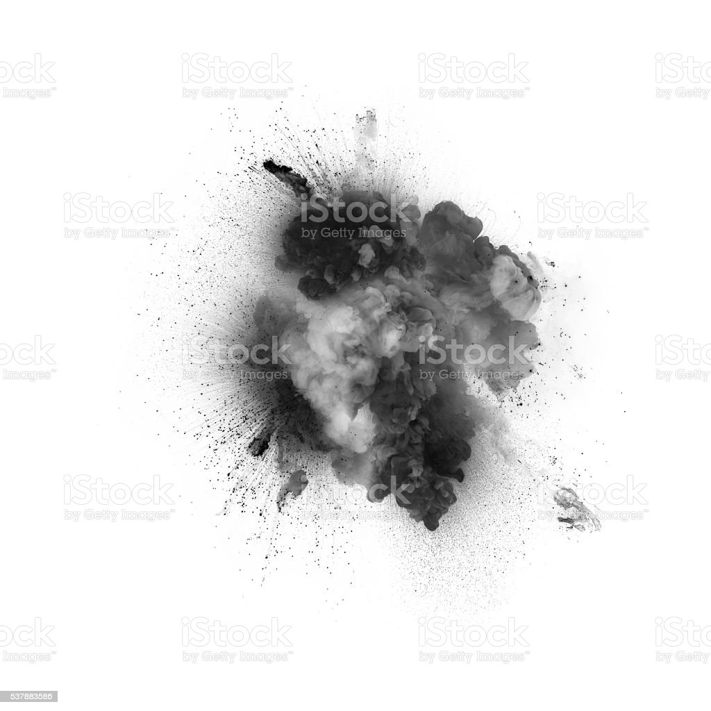 Black explosion isolated on white background stock photo