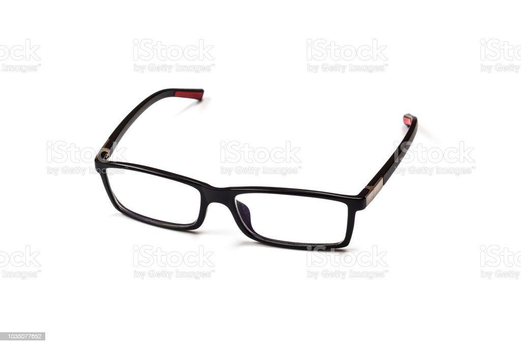 Black Eye Glasses Isolated on White Bacground stock photo