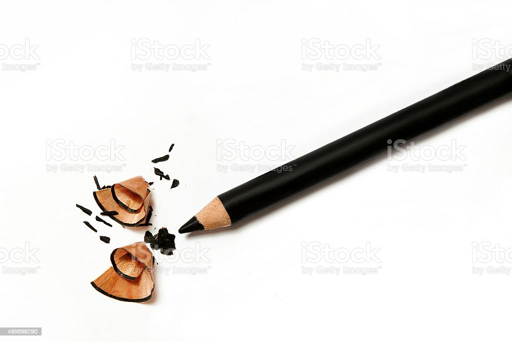black eye pencil tempered on white background stock photo