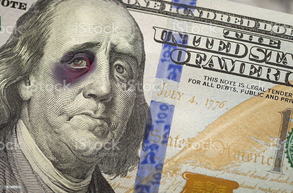 Black Eyed Ben Franklin on New One Hundred Dollar Bill stock photo