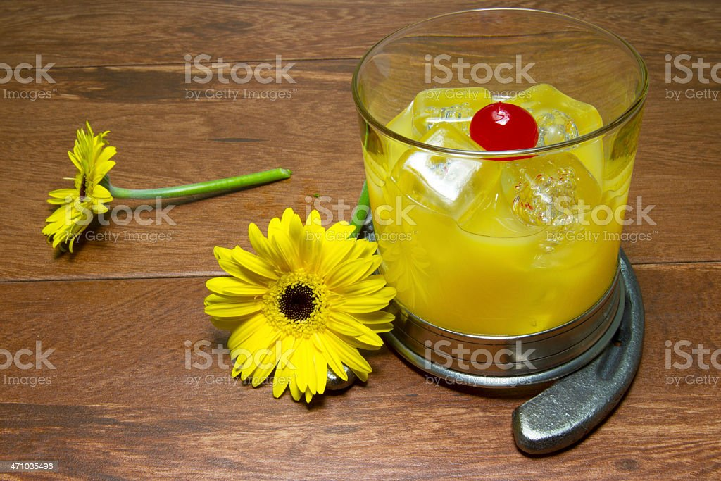 Black Eyed Susan Cocktail and Flower with Horseshoe stock photo