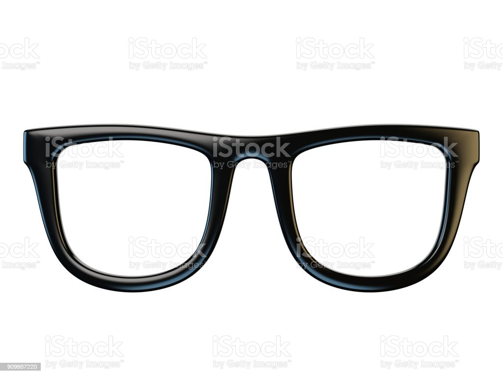 검은 안경 디자인 요소, 흰색 배경, 3d 렌더링에 고립 된 안경 스톡 사진