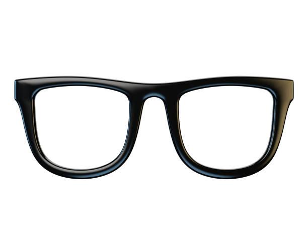Black eyeglasses design element, glasses isolated on white background, 3d rendering stock photo