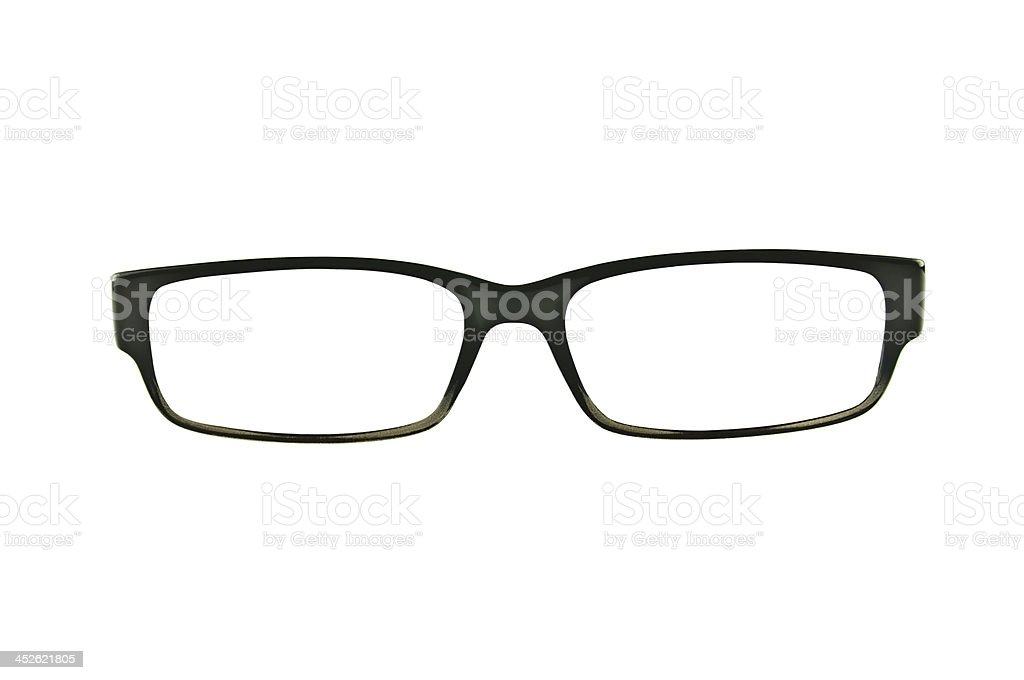 Black eyeglasses frames isolated stock photo