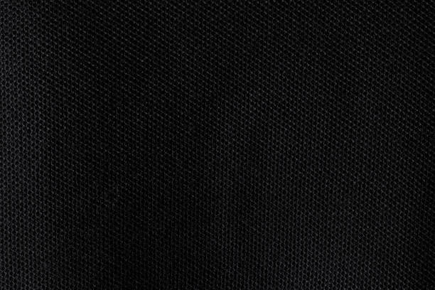 black fabric texture. dark textile pattern background. detail of cotton material. - mesh textile stock photos and pictures