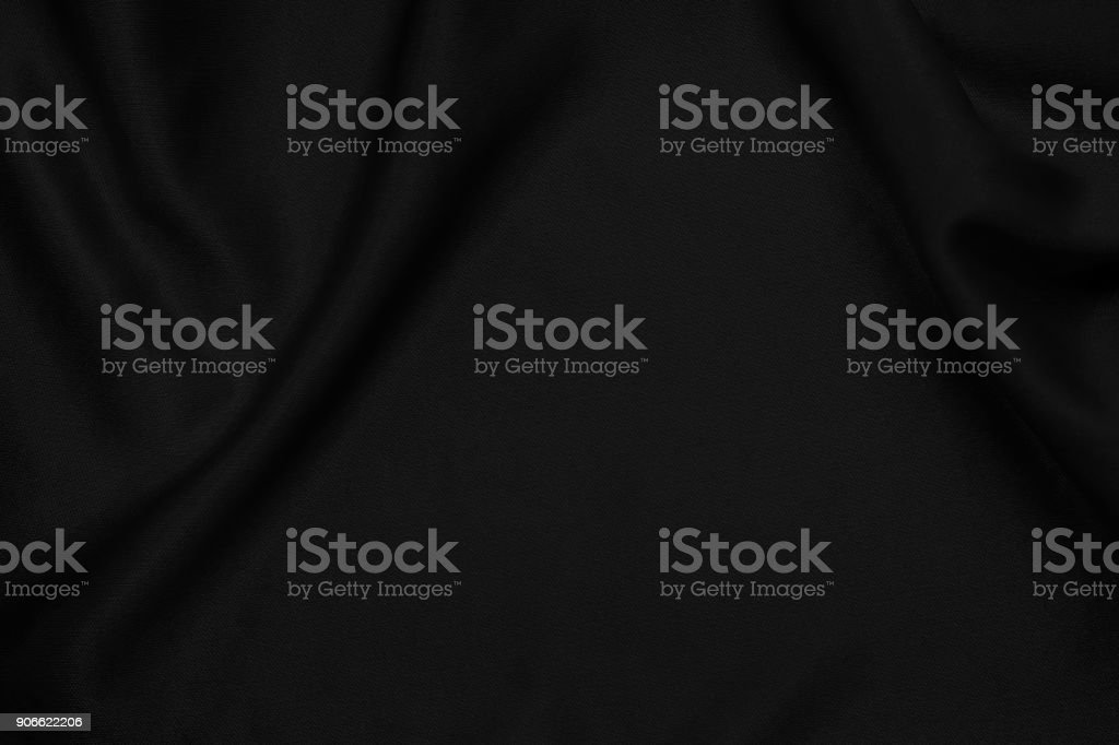 Black fabric texture for background and design, beautiful pattern of silk or linen. stock photo