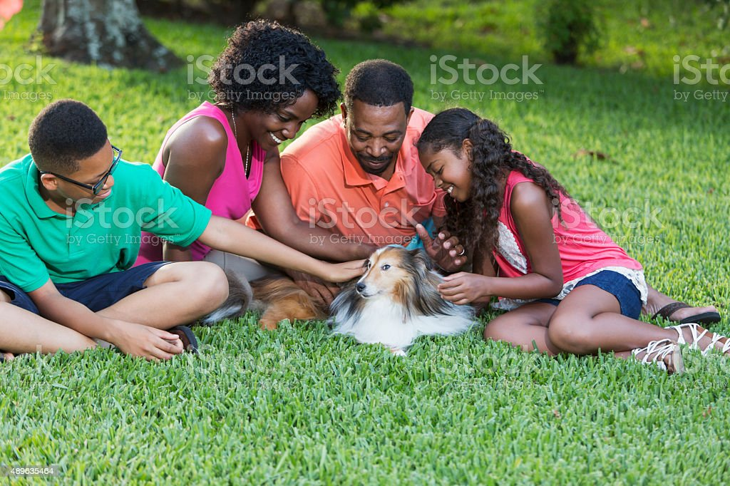 Black family of four with pet dog stock photo