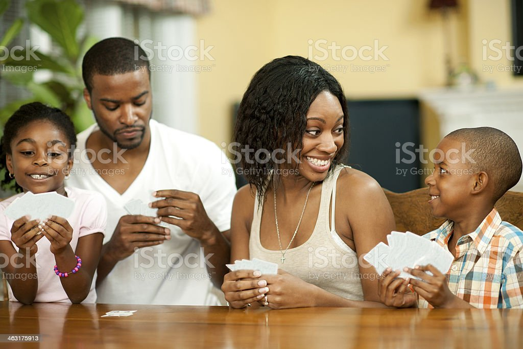 Black family playing cards stock photo