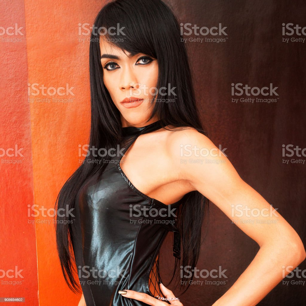 Black fashion ladyboy portrait stock photo