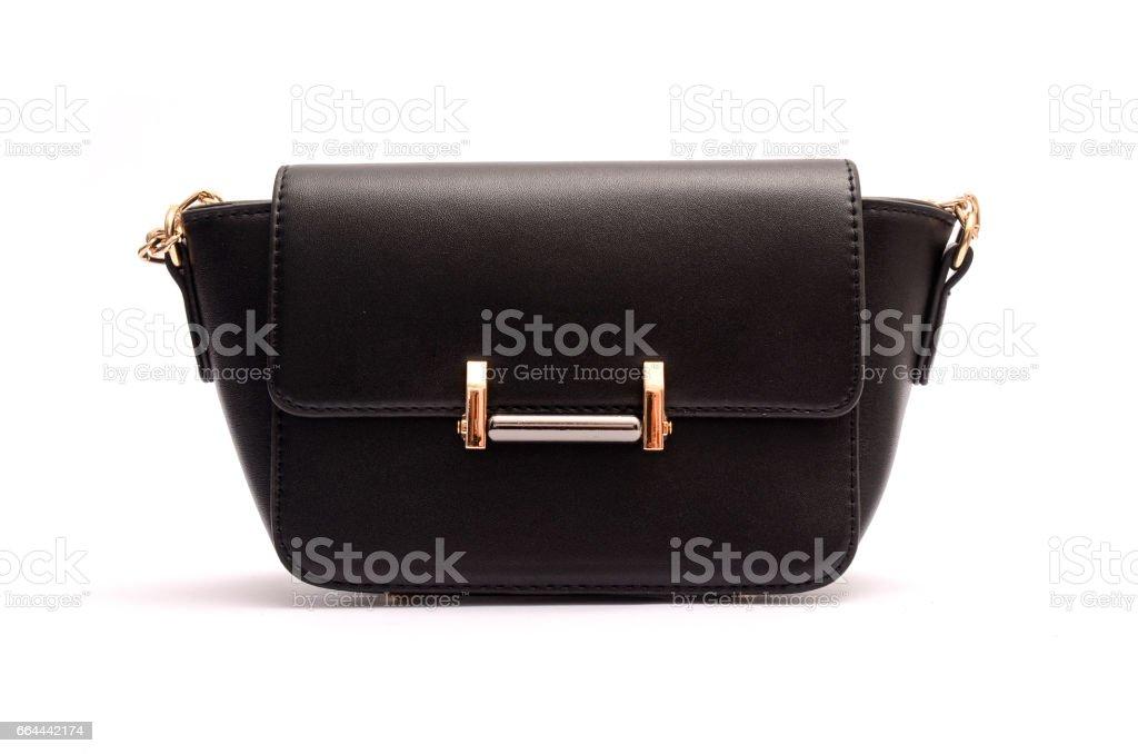 Black fashion woman clutch , ladies handbag stock photo