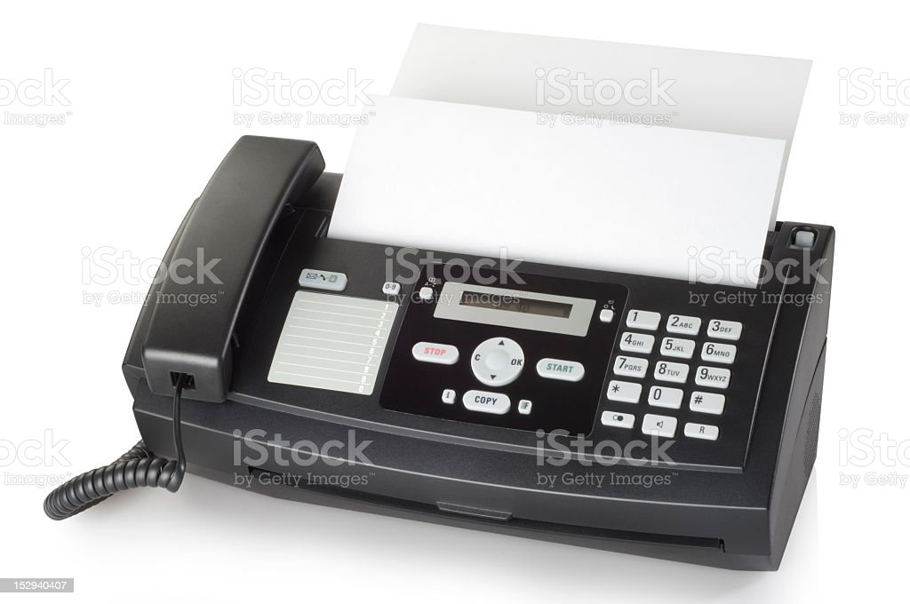 Black fax machine with white background stock photo