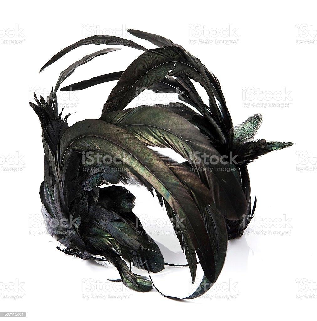 Black feather headband on white stock photo