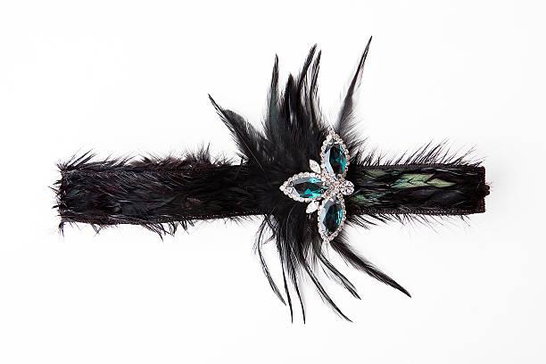 Schwarze feather Stirnband auf Weiß – Foto