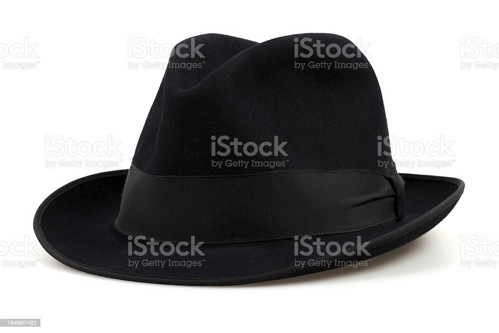 Black Fedora Hat, Isolated on White stock photo