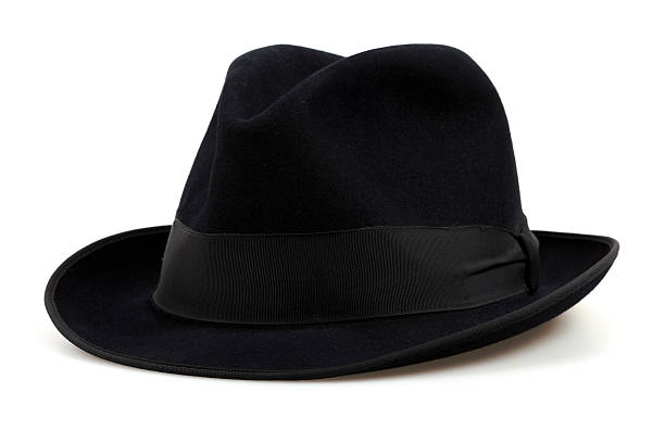 Black Fedora Hat, Isolated on White stock photo