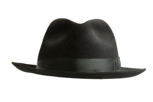 Black felt hat (Headdress, isolated 100% white, in focus)