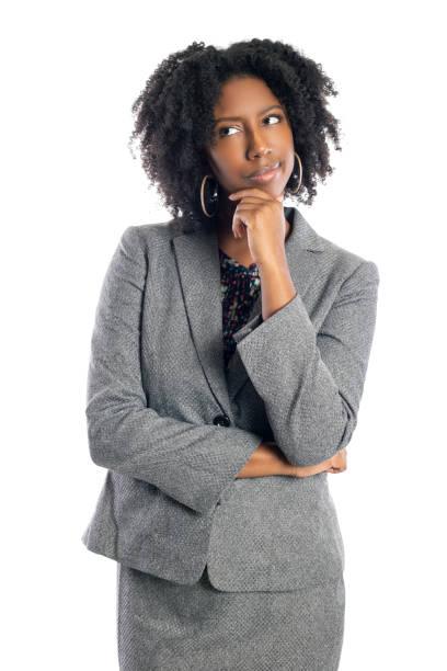 Black Female Businesswoman Thinking or Brainstorming stock photo