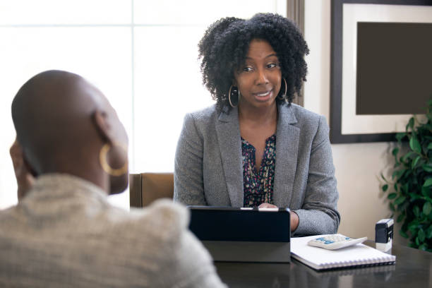 Black Female Businesswomen with Problems At Work stock photo