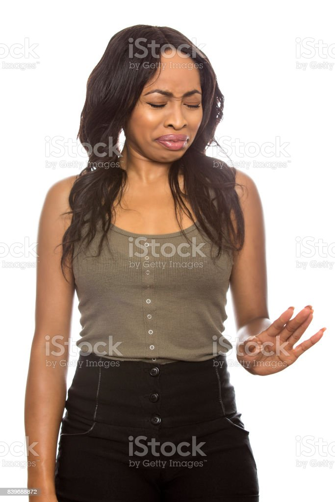 Schwarze weibliche Ausdrücke auf weißem Hintergrund – Foto