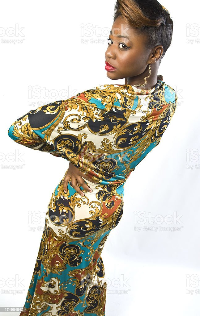 Black Female Fashion Model In Colorful Dress royalty-free stock photo