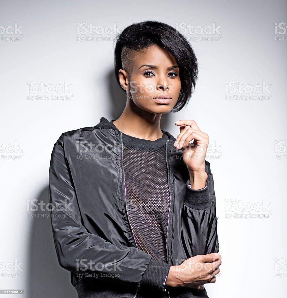Black Fashion Models Poses: Black Female Fashion Model Posing Stock Photo