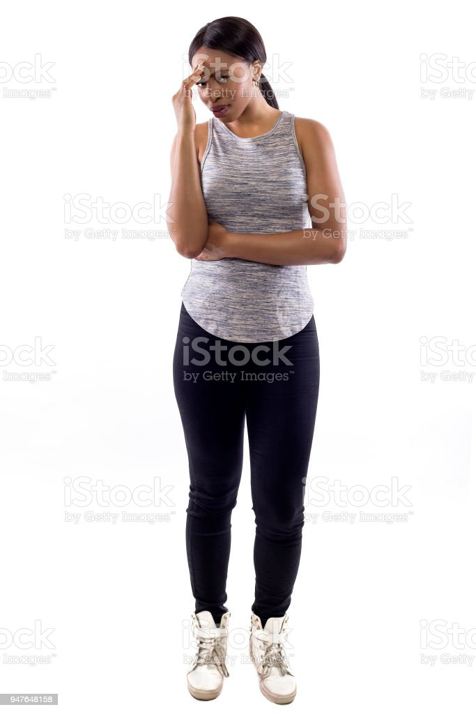 Black Female Fitness Trainer on a White Backgroundmade a Mistake stock photo