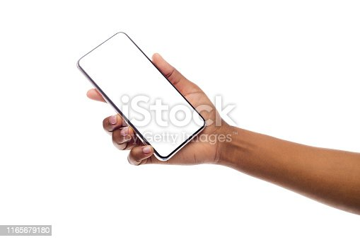 614011750istockphoto Black Female Hand Holding Frameless Smartphone With Empty Screen 1165679180