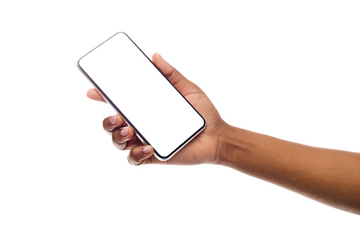 African American Woman's Hand Holding Frameless Smartphone With White Screen. Isolated, Panorama With Copy Space