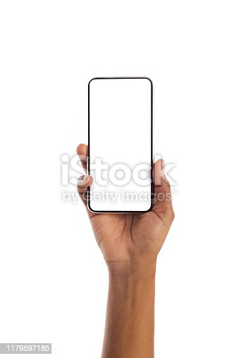 950613878 istock photo Black female hand holding smartphone with blank screen 1179597185