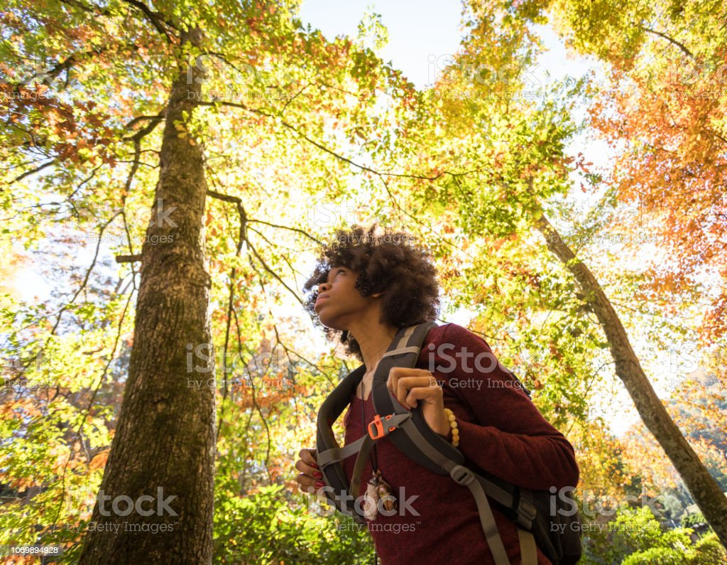 black female hiker surrounded by fall foliage stock photo