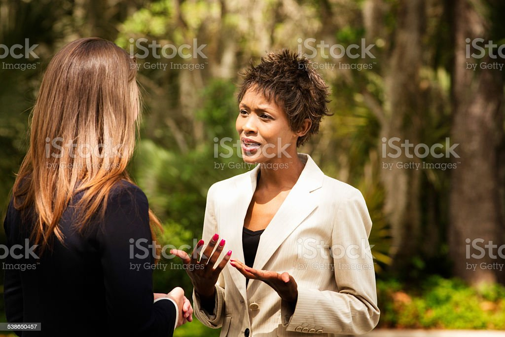 Black female office worker explaining herself to colleague outdoors stock photo