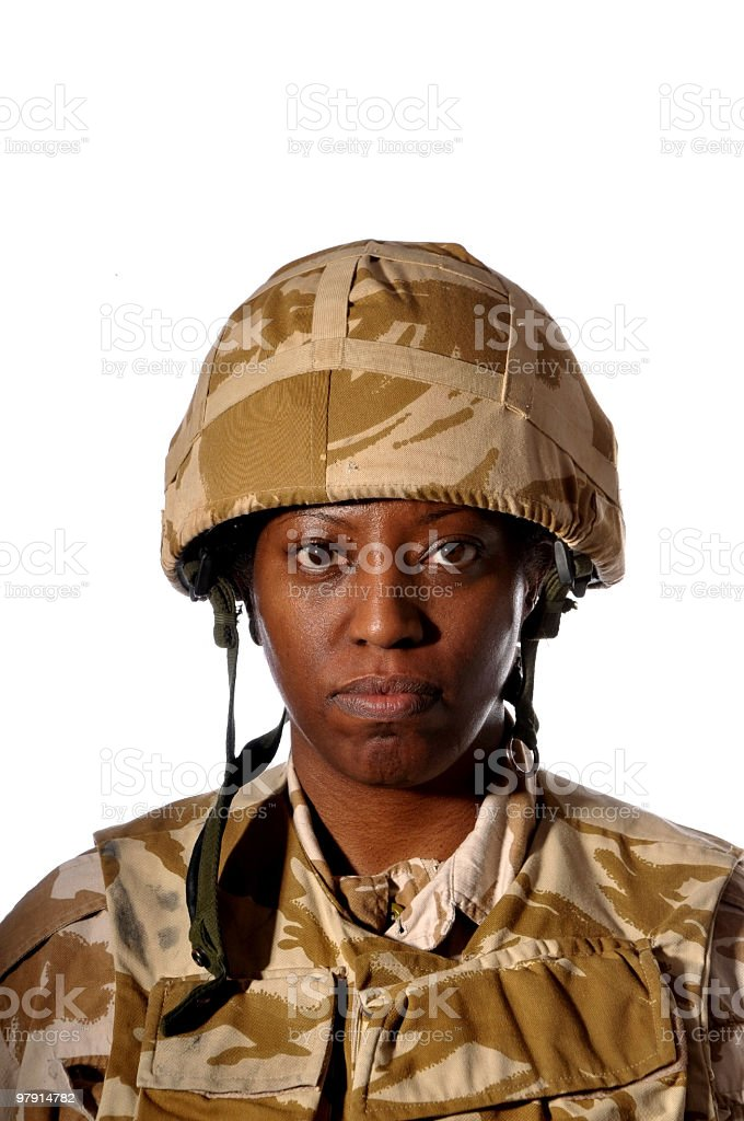 Black Female Soldier royalty-free stock photo