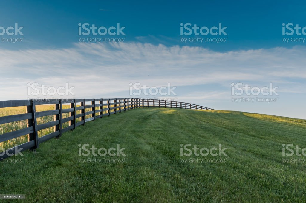 Black Fence Leads Over Grassy Hill stock photo