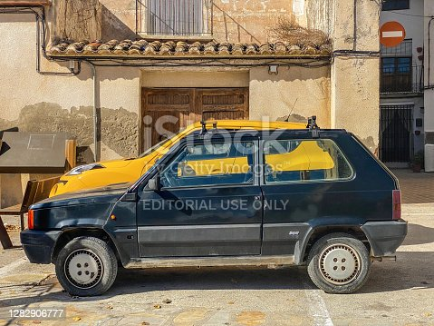 Castellón, Spain - October 27, 2020: Black Fiat car model Panda parked in the street in Caudiel town. This first generation was produced by the Italian manufacturer from 1980 to 2003