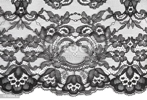 Black fine lace floral texture on white background, soft shadow
