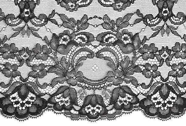 Black fine lace floral texture Black fine lace floral texture on white background, soft shadow lingerie stock pictures, royalty-free photos & images