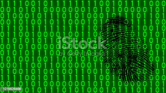 882141812istockphoto Black fingerprint on digital background of binary code pattern 1019626466
