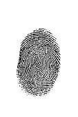 Black fingerprint on white.