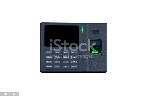 1058987638 istock photo Black fingerprint scanner isolated on white background for security system and time attendance system 946102672
