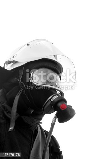 fire fighter, black and white, isolated on white