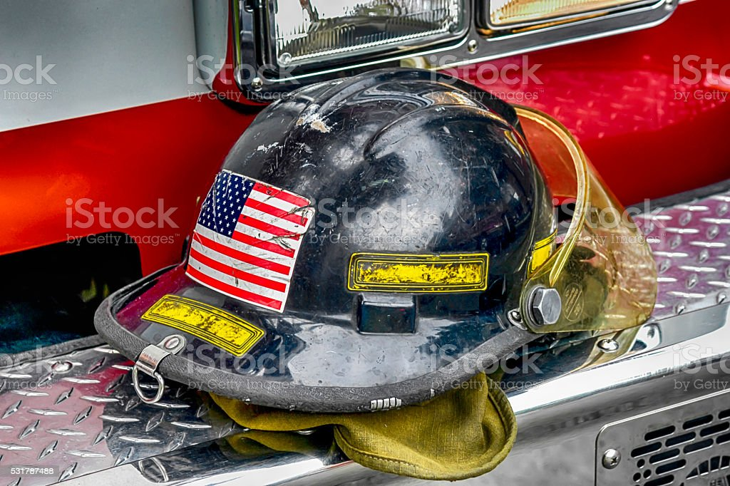 Black Firefighter helmet of the Toledo Fire Department, OH stock photo