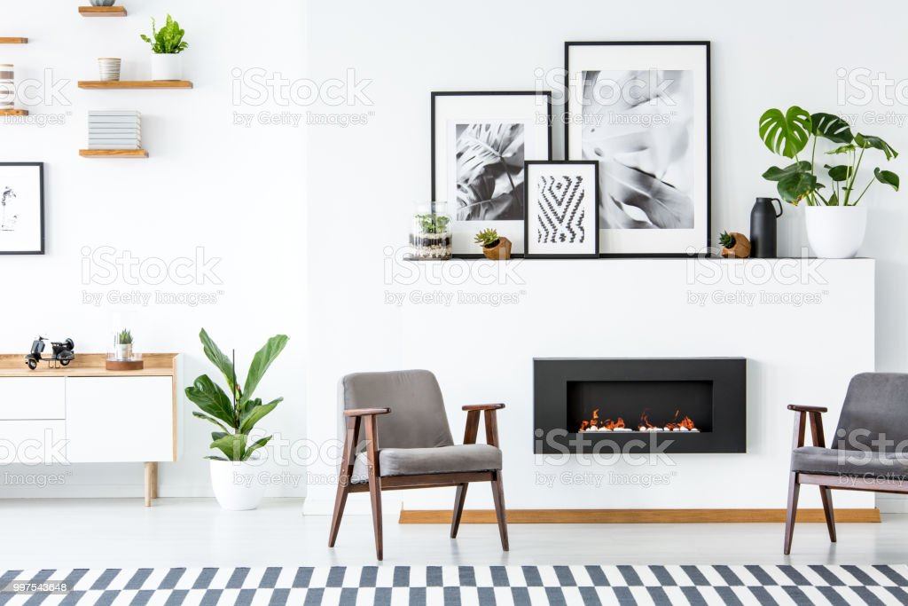 Black fireplace between grey armchairs in apartment interior with posters and plants. Real photo stock photo