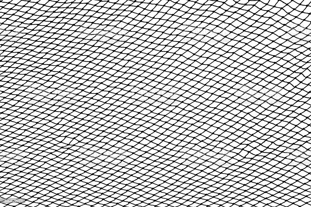 Black fishing net silhouette isolated on white stock photo