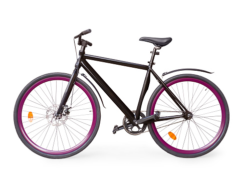 Black fixed urban bike with violet whells isolated with clipping