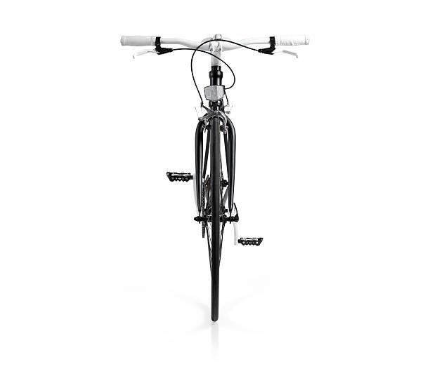 bicicleta fixie negro con trazado de recorte vista de frente - bastidor de la bicicleta fotografías e imágenes de stock